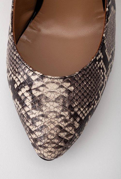 Pantofi maro din piele cu imprimeu tip piele de sarpe