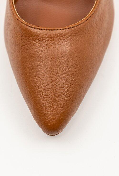 Pantofi maro din piele naturala box