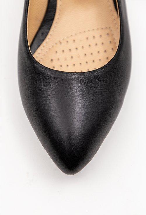 Pantofi negri din piele naturala cu toc mic
