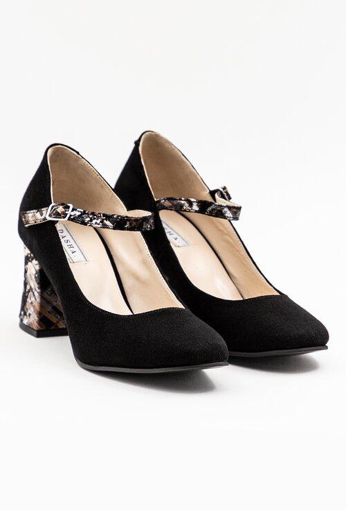 Pantofi negri din piele naturala intoarsa cu detaliu pe toc