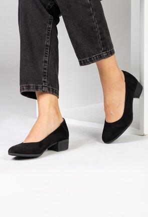 Pantofi negri din piele naturala tip camoscio