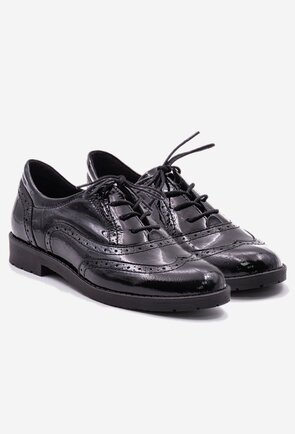 Pantofi negri tip Oxford din piele naturala lacuita