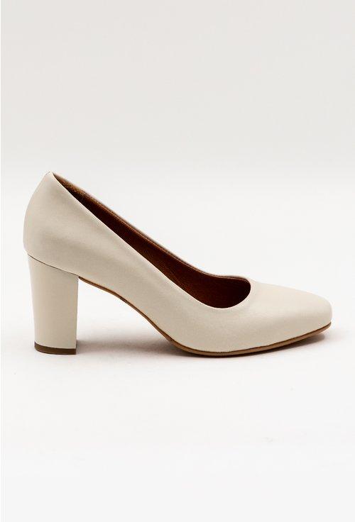 Pantofi nuanta alb fildes din piele naturala