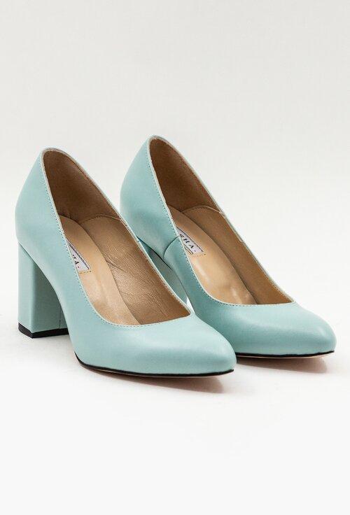 Pantofi nuanta bleu deschis din piele naturala