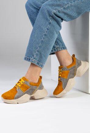 Pantofi nuanta galben mustar din piele
