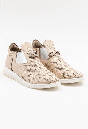 Pantofi nuanta nude din piele intoarsa cu talpic buretat