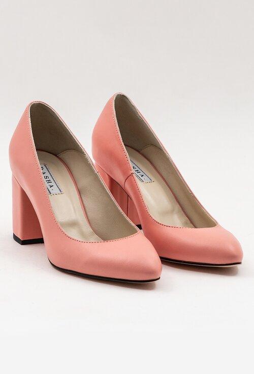 Pantofi nuanta roz pal din piele naturala cu toc