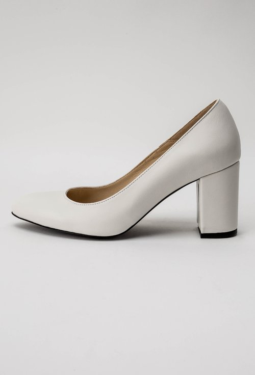 Pantofi office albi din piele naturala Lady