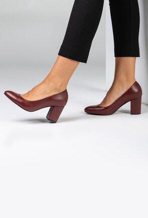 Pantofi office bordo din piele naturala mata