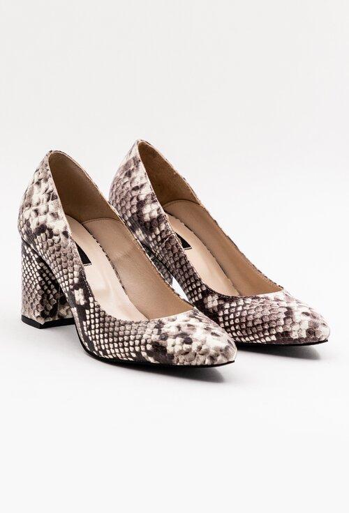 Pantofi office din piele naturala cu snake print