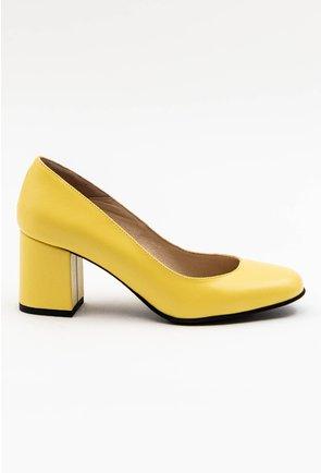 Pantofi office galbeni din piele naturala