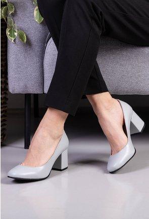 Pantofi office gri din piele naturala
