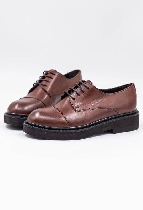 Pantofi office maro din piele naturala cu siret
