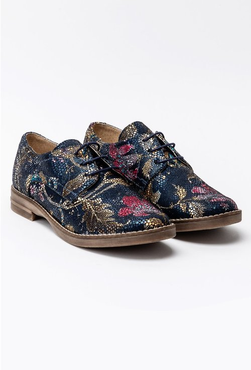 Pantofi Oxford bleumarin cu imprimeu floral multicolor din piele naturala Carmen