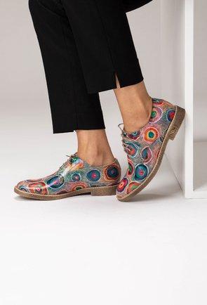 Pantofi Oxford din piele naturala cu imprimeu muticolor Felicity