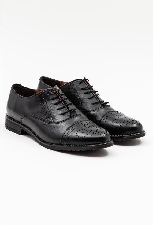 Pantofi Oxford negri din piele naturala cu detalii perforate