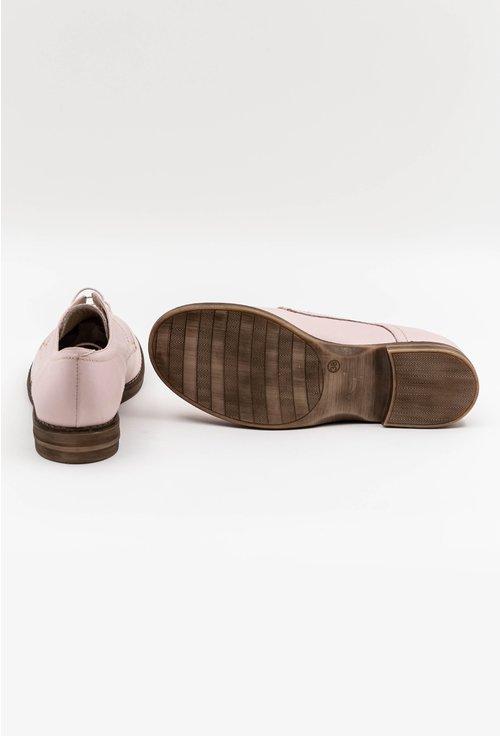 Pantofi oxford din piele naturala nuanta roz pal