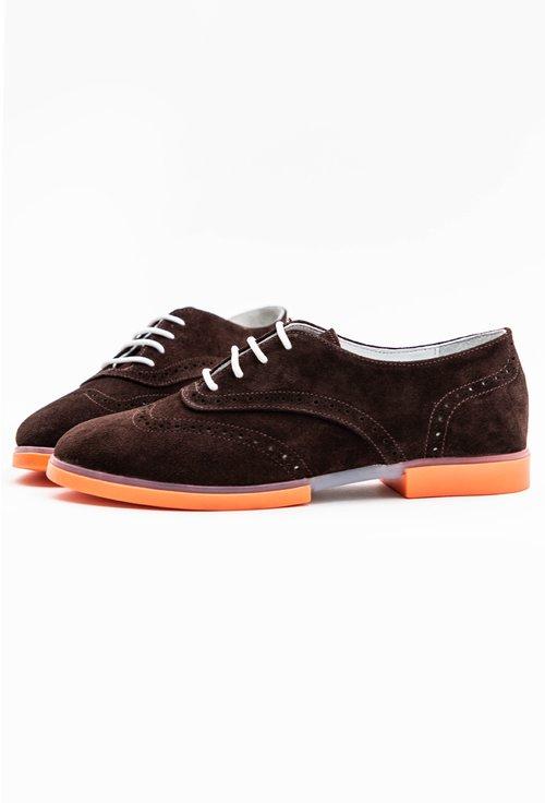 Pantofi Oxford maro inchis din piele naturala intoarsa