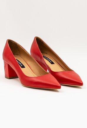 Pantofi rosii din piele naturala cu toc patrat