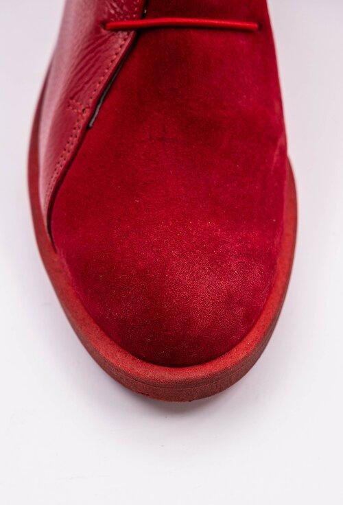 Pantofi rosii din piele naturala intoarsa si texturata