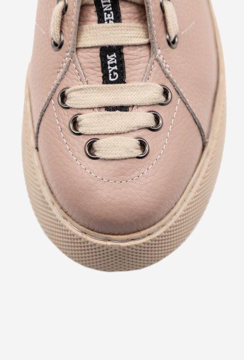Pantofi roz din piele naturala cu siret