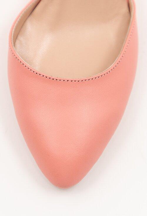 Pantofi roz din piele naturala cu toc