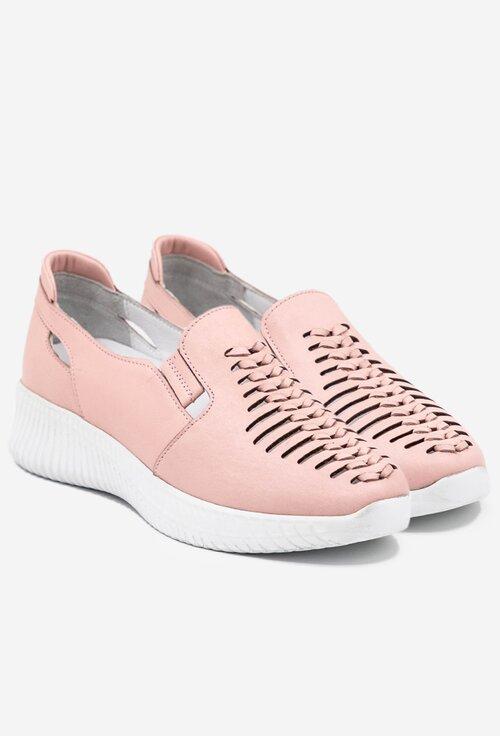 Pantofi roz pal din piele naturala cu elastic