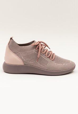 Pantofi roz pudra din piele din material textil elastic