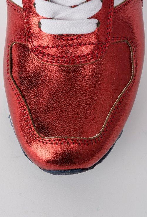 Pantofi sport alb cu grena metalizat din piele naturala Metallie