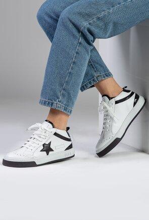 Pantofi sport albi din piele box cu siret si detaliu stea