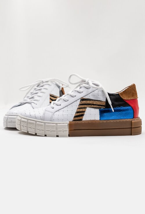 Pantofi sport albi din piele cu detalii cu imprimeu colorat