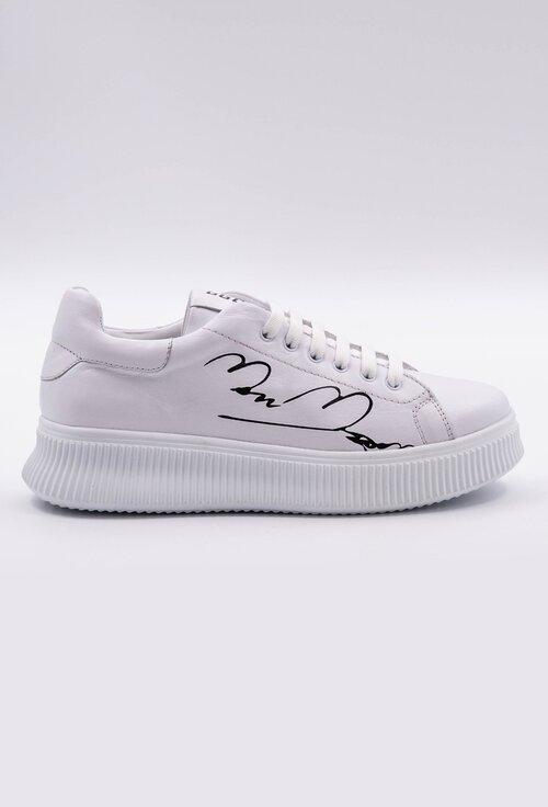 Pantofi sport albi din piele cu detaliu scris