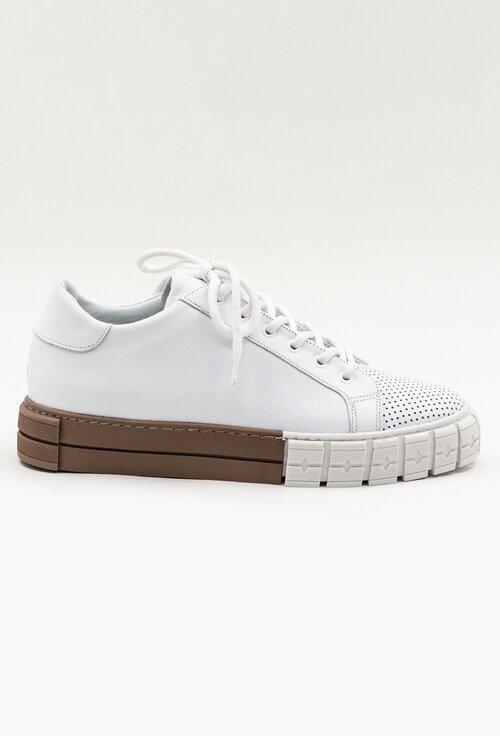 Pantofi sport albi din piele naturala box cu detaliu perforat