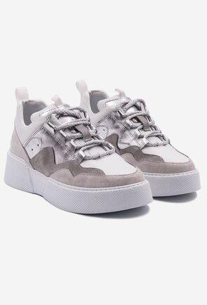 Pantofi sport albi din piele naturala cu detalii gri si argintii