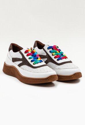 Pantofi sport albi din piele naturala cu detalii perforate
