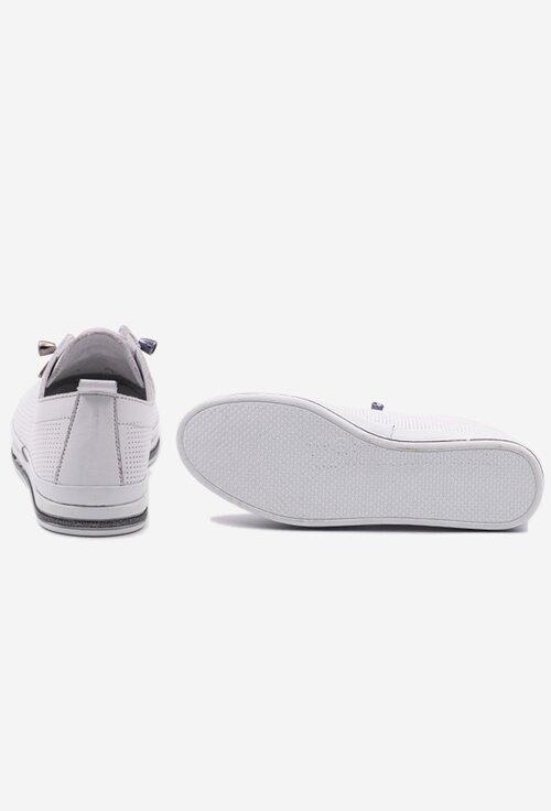 Pantofi sport albi din piele naturala cu siret elastic