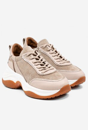 Pantofi sport bej din piele naturala