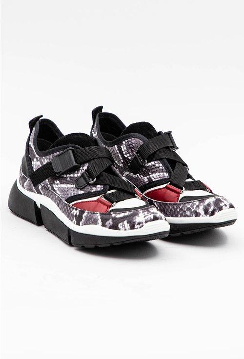 Pantofi sport cu imprimeu tip piele de sarpe din piele naturala
