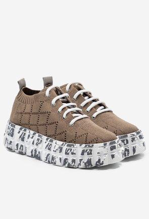 Pantofi sport din material textil taupe cu platforma