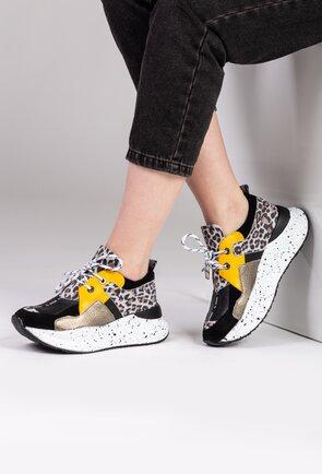 Pantofi sport din piele cu detaliu animal print
