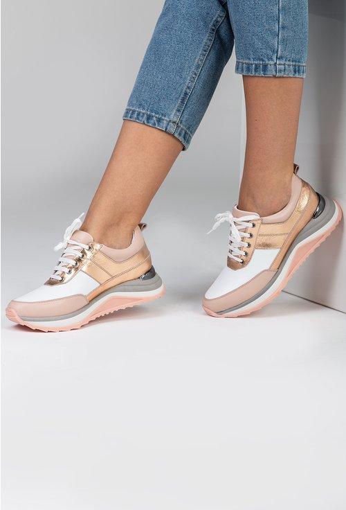 Pantofi sport din piele in nuante de nude si rose gold