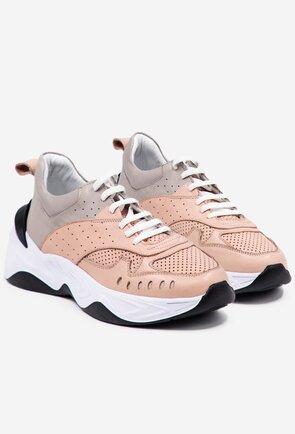Pantofi sport din piele in nuante de roz si gri