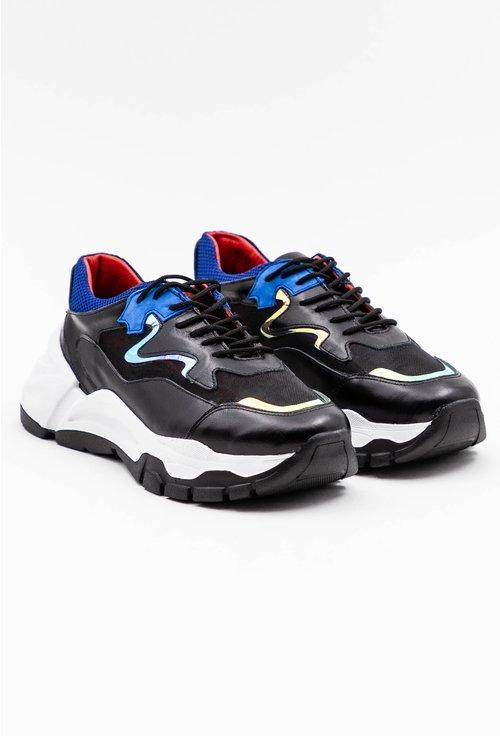 Pantofi sport din piele naturala cu detalii albastre