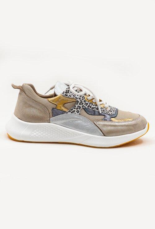 Pantofi sport din piele naturala cu insertii sclipitoare si animal print