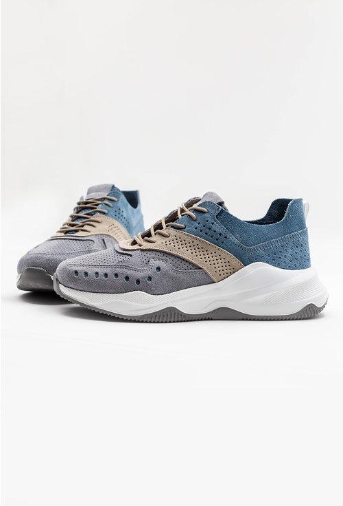 Pantofi sport din piele naturala in nuante de gri si albastru