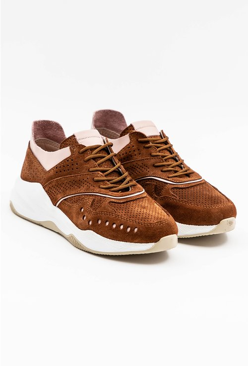 Pantofi sport din piele naturala intoarsa maro
