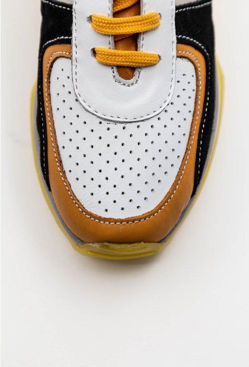 Pantofi sport din piele naturala nuanta alb cu negru