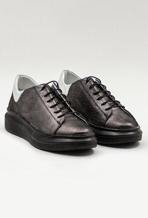 Pantofi sport din piele naturala nuanta gri cu insertii sclipitoare