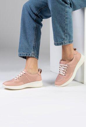 Pantofi sport din piele naturala nuanta roz pal