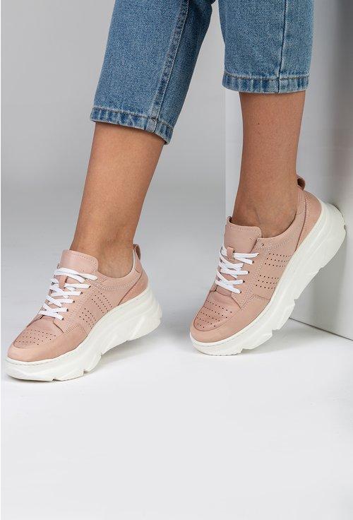 Pantofi sport din piele naturala perforata nuanta nude roze